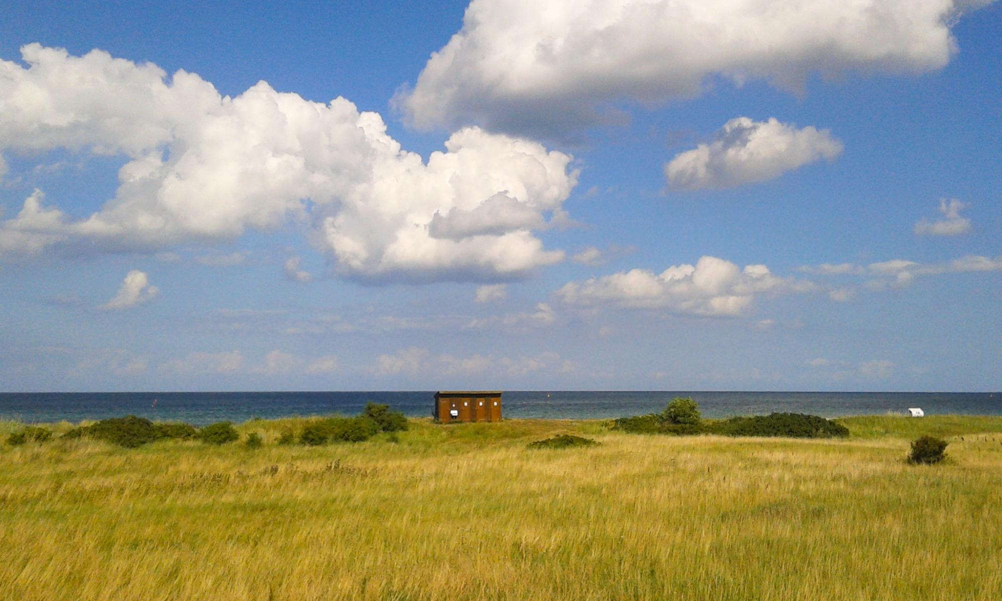 Blick auf Ostsee über Felder